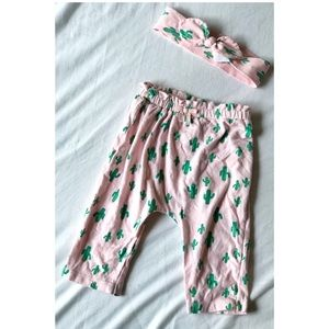 Baby Girl Matching Cactus Pants & Headband